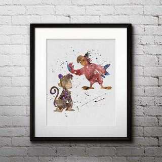 ディズニー(Disney)のアブー&イアーゴ(アラジン)アートポスター【額縁つき・送料無料!】(ポスター)