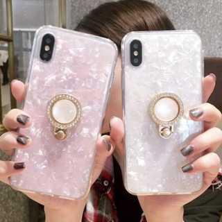 パール ストーン リング付き シェル  iPhone8/7 ホワイト(iPhoneケース)