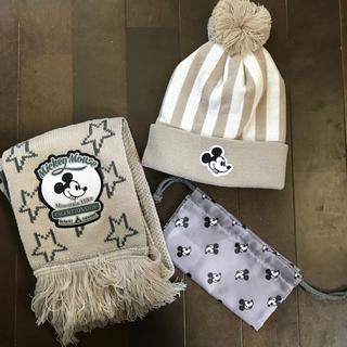 ディズニー(Disney)のミッキーマウス キッズ用 ニット帽 マフラー 巾着袋セット(帽子)