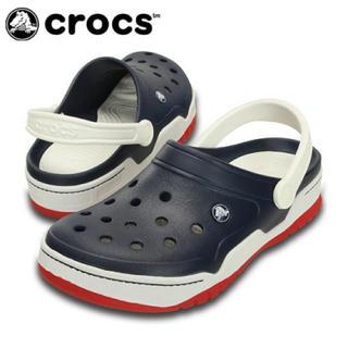 クロックス(crocs)の半額 スタート クロックス 25cm ネイビー レッド フロントコート クロッグ(サンダル)