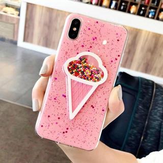 ディズニー(Disney)の新品未開封 iPhone7用ケース アイスクリーム ピンク マルチカラービーズ入(iPhoneケース)