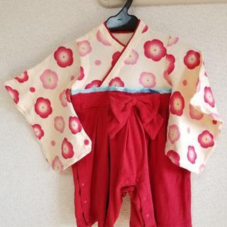 ベルメゾン(ベルメゾン)の袴 ロンパース 80 桃節句 赤 ベージュ (和服/着物)