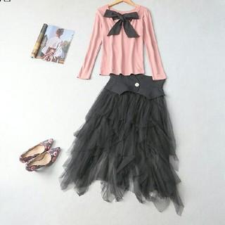 ドレス 女性 通勤 コート M スウェット BLACK(ロングドレス)