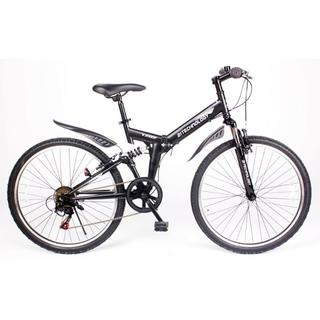 新品★送料無料 折り畳式マウンテンバイク シマノ6段ギア マットブラック(自転車本体)