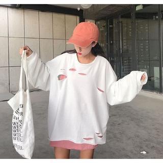ダンサー に人気 オーバーサイズ 大きめ ダメージ加工 ロンT ホワイト c12(Tシャツ(長袖/七分))