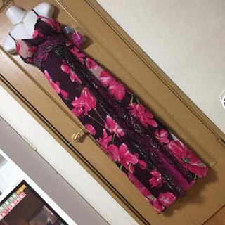 新品!花柄レースロングドレス ピンク ブラック(ロングドレス)
