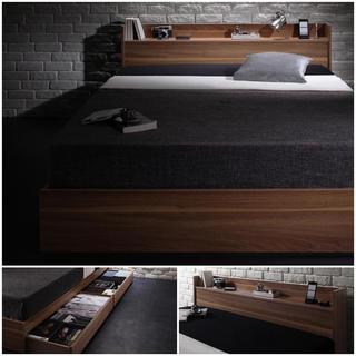 お洒落デザイン☆棚コンセント付収納ベッド シングル『ボンネルコイルマットレス付』(シングルベッド)