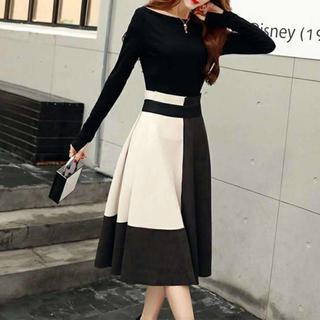 【上下セット❤】セットアップ トップス+スカート バイカラースカート 白【M】(ロングドレス)