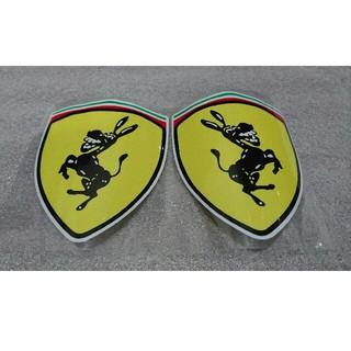 未使用 送料無料 二枚セット フェラーリ風 ステッカー ロゴ エンブレム(車外アクセサリ)