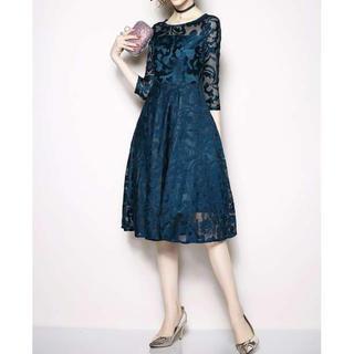 エレガント ヨーロッパ風 総レースワンピースドレス ブルー L(ロングドレス)