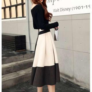 【上下セット❤】セットアップ トップス+スカート バイカラースカート 白【L】(ロングドレス)
