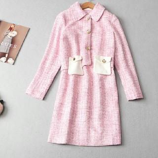 ドレス 女性 通勤 コート M スウェット pink(ロングドレス)