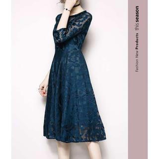 エレガント ヨーロッパ風 総レースワンピースドレス ブルー M(ロングドレス)