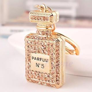 香水 ボトル ラインストーン バッグキーホルダー ギフト 香水瓶 ゴールド(キーホルダー)