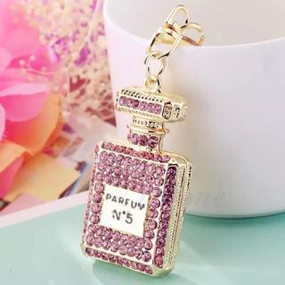 香水 ボトル ラインストーン バッグキーホルダー ギフト 香水瓶 ピンク(キーホルダー)