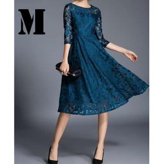 ★総レース ミモレ丈ドレス ブルー M(ロングドレス)