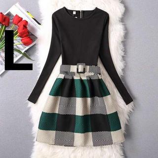 【SALE】かわいい系 ワンピ レディース 長袖 清楚 おしゃれ 体型カバー L(ロングドレス)