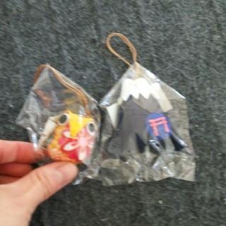 縁起物だよ。富士浅間神社のふくろうと富士山(キーホルダー)