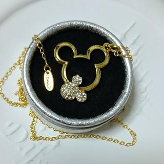 ディズニー(Disney)のディズニー 18KGPミッキーネックレス cz小粒ダイアモンド(ネックレス)