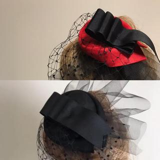 チュール ベール  トークハット トーク帽 ヘッドドレス コーム1 黒(その他)