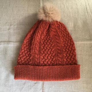 ラビットファーボンボン付きニット帽(ニット帽/ビーニー)