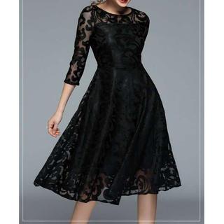 ★新品★大人かわいい 総レース ミモレ丈ドレス ブラック L(ロングドレス)