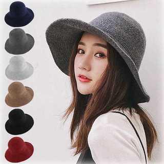 【ラクマ最安値挑戦】ニット帽子  折りたたみ つば広帽子 小顔効果 無地(ハット)