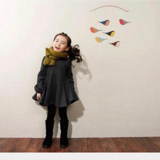 【訳あり】韓国子供服 フレアワンピース 110 グレー バックリボン(ワンピース)