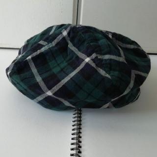 ベレー帽 ソフト 綿 ガーゼ 紺 緑 白 中古(ハンチング/ベレー帽)