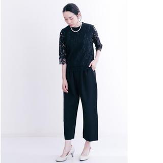 メルロー(merlot)の新品merlot plusレーシーブラウス×パンツ セットアップ黒(ロングドレス)