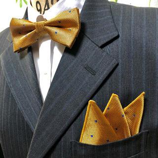 蝶ネクタイ ポケットチーフ2点セット/メンズ/マスターゴールド(ネクタイ)