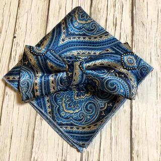 蝶ネクタイ ポケットチーフ2点セット/メンズ/ブルーペイズリー(ネクタイ)