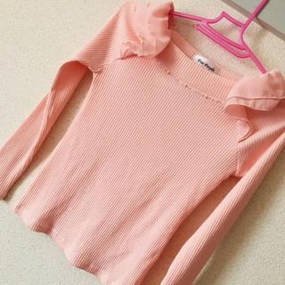 ピンク フリル トップス(カットソー(長袖/七分))