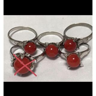 天然血赤珊瑚 刻印入り リング 4個セット ケース付き(リング(指輪))
