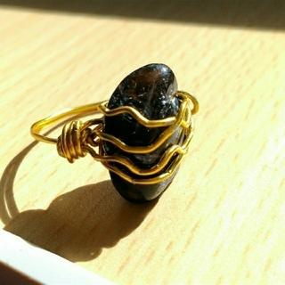 Marie様専用 黒水晶 ワイヤーリング ふたつ(リング(指輪))