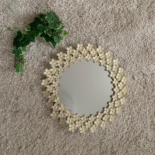 アンティーク 鏡 花 シンプル (壁掛けミラー)