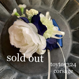 toytoy324 コサージュ 髪飾り フラワー ホワイト ブルー 卒業 入学(コサージュ/ブローチ)