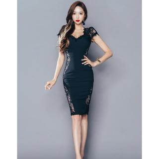 500033d236fb5 黒 サイドレース フレンチスリーブ レース ドレス ワンピース キャバドレス(ミディアムドレス)