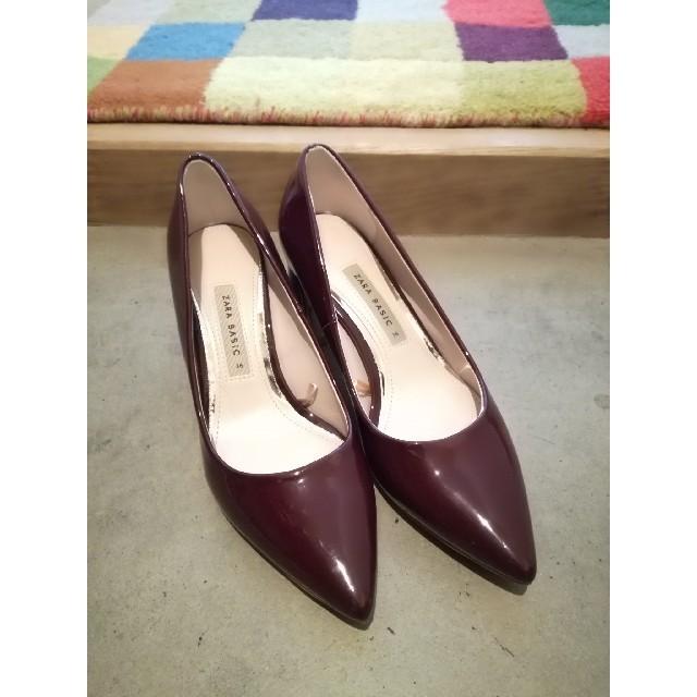 ZARA(ザラ)のZARA パンプス チャンキーヒール バーガンディ レディースの靴/シューズ(ハイヒール/パンプス)の商品写真
