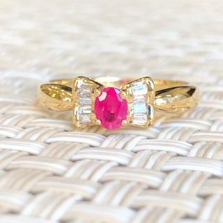 まゆた様専用⭐️リボン⭐️ルビー! ダイヤモンド ダイヤ 18金 指輪 リング (リング(指輪))