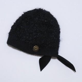 ミナペルホネン(mina perhonen)のミナペルホネン× ヒトミシノヤマ shinoyama ニット帽 ブラック(ニット帽/ビーニー)