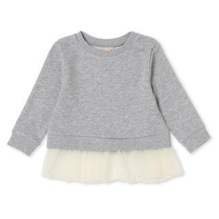 プティマイン(petit main)のプティマイン新品新作タグ付き裾チュールつき無地裏毛トレーナー90cm(トレーナー)