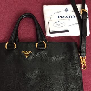 8f5cf3843ec1 プラダ(PRADA)の極美品 プラダ ショルダートートハンドバッグ ブラック 黒レザー ナイロン