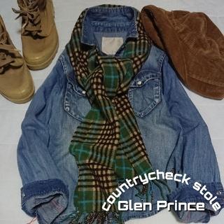 グレンプリンス(Glen Prince)のグレンプリンス Glen Prince カントリーチェックラムウールストール(ストール/パシュミナ)