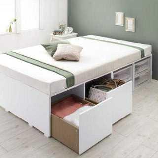 早い者勝ち 衣装ケースも入る大容量収納ベッド 薄型マットレス付 シングル