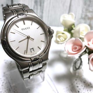 グッチ(Gucci)の【電池交換済み】GUCCI グッチ 9040M 腕時計 シルバー  メンズ(腕時計(アナログ))