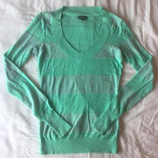 ジャイロホワイト(JAYRO White)のEXPRESS 緑ラメボーダー ニットセーター(ニット/セーター)
