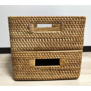 ムジルシリョウヒン(MUJI (無印良品))の無印良品 重なるラタン角型バスケット2個セット(バスケット/かご)