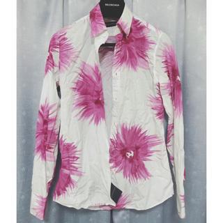 バーバリー(BURBERRY)の1回着 定価20万 バーバリー プローサム シャツ 花 紫 パープル 44(シャツ)