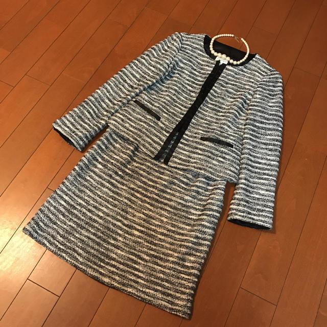 INDIVI(インディヴィ)の入学式 ニット ツイードスーツ レディースのフォーマル/ドレス(スーツ)の商品写真